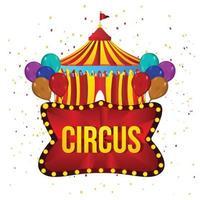 Karnevalszirkushintergrund mit kreativem Zirkuszelthaus und Ballon vektor