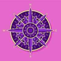Flachpurpur-grüner Kompass-Vektor