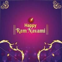 Happy Ram Navami Feier Hintergrund mit Lord Rama Pfeil und Bogen vektor