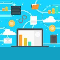 Flacher Data Mining Cryptocurrency-Prozess mit Steigungs-Hintergrund-Vektor-Illustration