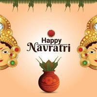 glatt navratri firande gratulationskort med kreativ illustration av gudinnan durga vektor