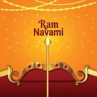 goldener Bogen mit Pfeil für glückliche Widder-Navami vektor
