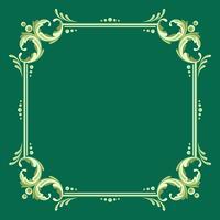 Quadratischer Fileteado Rahmen mit grünem Hintergrund-Vektor vektor