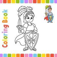Malbuch für Kinder. fröhlicher Charakter. Vektorillustration. niedlicher Cartoonstil. Fantasy-Seite für Kinder. schwarze Kontur Silhouette. isoliert auf weißem Hintergrund. vektor