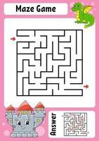 fyrkantig labyrint. spel för barn. rolig labyrint. utbildning utveckla kalkylblad. aktivitetssida. pussel för barn. tecknad stil. gåta för förskolan. logisk gåta. färg vektorillustration. vektor