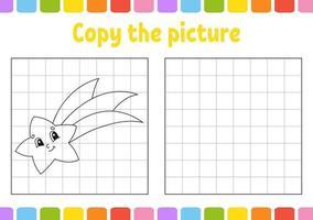 Kopieren Sie das Bild. Malbuchseiten für Kinder. Arbeitsblatt zur Entwicklung von Bildung. Spiel für Kinder. Handschriftpraxis. lustiger Charakter. niedliche Karikaturvektorillustration. vektor