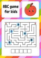 ABC Labyrinth für Kinder. Rechteck Labyrinth. Arbeitsblatt für Aktivitäten. Puzzle für Kinder. Cartoon-Stil. logisches Rätsel. Farbvektorillustration. vektor
