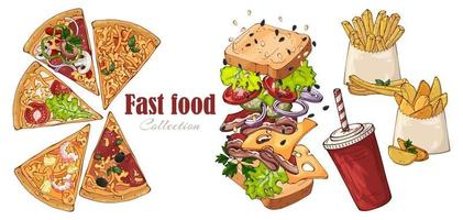Vektor-Fast-Food-Sandwich, Landkartoffeln, Pizza, Getränk. vektor