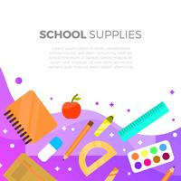 Flat School Supplies Med Gradient Bakgrund Vector Illustration