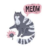 vektor platt handritade illustrationer. söt katt med blomma.