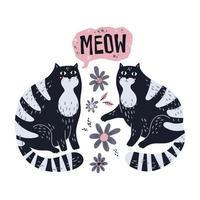 vektor platt handritade illustrationer. söta katter med blommor.