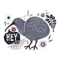 Vektor flache Hand gezeichnete Illustrationen. niedlicher Kiwivogel mit Pflanzen und Blumen.