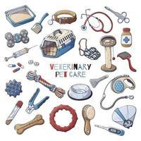 Veterinärzubehör zur Pflege von Katzen und Hunden. Vektor. vektor