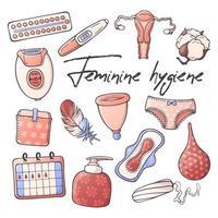 Vektorillustrationen zum Thema Damenhygiene. vektor