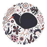 vektor platt handritade illustrationer. söt kiwifågel med växter och blommor.