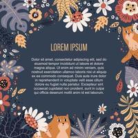 vektor platt handritade illustrationer. plats för din text omgiven av växter och blommor.