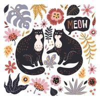 vektor platt handritade illustrationer. söta katter med växter och blommor.