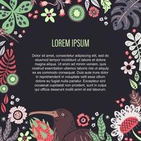 vektor platt handritade illustrationer. plats för din text omgiven av växter, frukter och blommor.