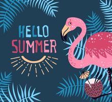 Vektor niedlichen Flamingo mit einem tropischen Cocktail. Schriftzug Hallo Sommer.