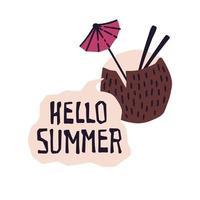 vektor tropisk cocktail med bokstäver hej sommar.