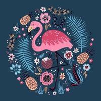 Vektor niedlichen Flamingo umgeben von tropischen Früchten, Pflanzen und Blumen.
