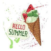 vektor glass i våffelkottar dekorerade med bär, choklad eller nötter.