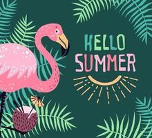 vektor söt flamingo med en tropisk cocktail. bokstäver hej sommar.