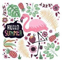 vektor söt flamingo omgiven av tropiska frukter, växter och blommor.