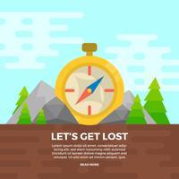 Flacher Kompass mit Landschaftshintergrund-Vektor-Illustration