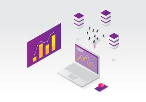 Isometrisches Datenbergbau-Konzept vektor