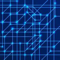 Vektorhintergrund von hellen Neonlinien mit Schnittknoten. Datenübertragungskonzept von Netzen und neuronalen Netzen. vektor
