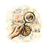 gealterter antiker nautischer Kompass und Hand, die Lupe mit Schatzkarte von einem Spritzer Aquarell halten, handgezeichnete Skizze. Vektorillustration von Farben vektor