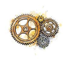 Zahnräder aus einem Spritzer Aquarell, handgezeichnete Skizze. Vektorillustration von Farben vektor