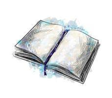 öppen bok från ett stänk av akvarell, handritad skiss. vektor illustration av färger