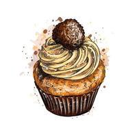 cupcake med grädde från ett stänk av akvarell, handritad skiss. vektor illustration av färger