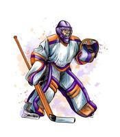 abstrakter Hockeytorhüter vom Spritzen von Aquarellen. handgezeichnete Skizze. Wintersport. Vektorillustration von Farben vektor