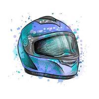 motorcykelhjälm från ett stänk av akvarell, handritad skiss. vektor illustration av färger