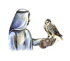 arabischer Mann mit einem Falken aus einem Spritzer Aquarell, handgezeichnete Skizze. Vektorillustration von Farben vektor