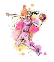 abstrakt basketspelare med boll från ett stänk av akvarell, handritad skiss. vektor illustration av färger