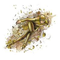 abstrakta hastighetsåkare från stänk av akvareller. vintersport kort spår. vektor illustration av färger