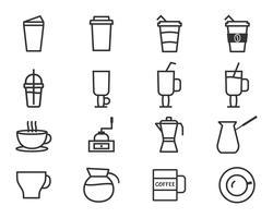 Kaffee und Cocktails umreißen die Elemente und die Symbollinie Ikone lokalisiert auf weißem Hintergrund. Kann als Symbol, Logo, Elemente in Infografiken im Web und in der mobilen App verwendet werden. Vektor