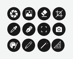 Kunstsymbole eingestellt. Kunstwerkzeug-Vektorillustration. vektor