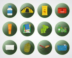 Camping mit Kinderknöpfen mit Schatten. Satz flache Elemente und Symbole des abenteuerlichen Reisens. Sommer Outdoor-Design. Campingplatz und Campingplatz. Vektor