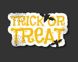 Glad Halloween trick och behandla flyersmall - orange och vita färger med text, fladdermöss, web på mörk bakgrund. Snygg design för firande halloween. Vektor