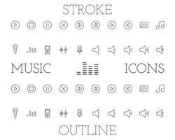 Musikentwurfs- und -anschlagikonen stellten, einfache dünne Linie Design ein. Isoliert auf weißem hintergrund. Vektor