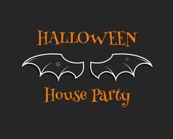 Stilvoller einzigartiger Fledermaushintergrund. Glückliche Halloween-Hauspartykarte. Poster und Banner. Flaches dunkles Design für Feier Halloween. Vektor