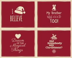 Satz Weihnachtslustige Zeichen, Zitathintergrunddesigne für Kinder - ich glaube an Weihnachtsmann. Schöne Retro-Palette. Rote und weiße Farben. Kann als Flyer, Banner, Poster, Hintergrundkarte verwendet werden. Vektor.
