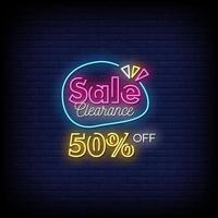 clearing försäljning neonskyltar stil text vektor