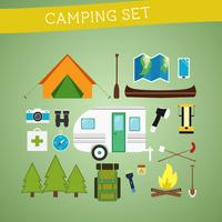 Ljus tecknad campingutrustning utrustning ikon satt i vektor. Rekreation, semester och sport symboler. Platt design