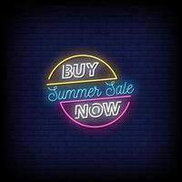sommarförsäljning neonskyltar stil textvektor vektor